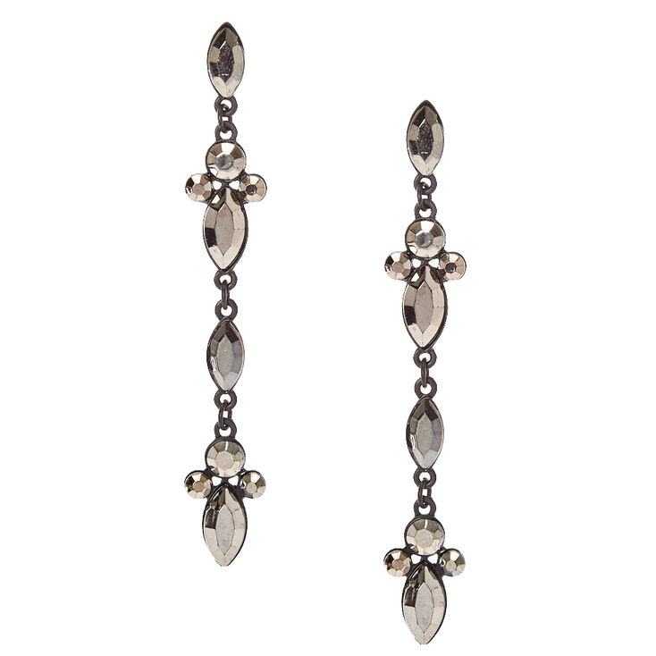 Black Gem Drop Earrings,