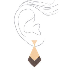 "Gold 1.5"" Geometric Drop Earrings - Gray,"