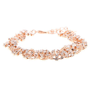 Rose Gold Crystal Braided Bracelet,
