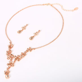 Rose Gold Rhinestone Flower Cluster Jewelry Set - 2 Pack,