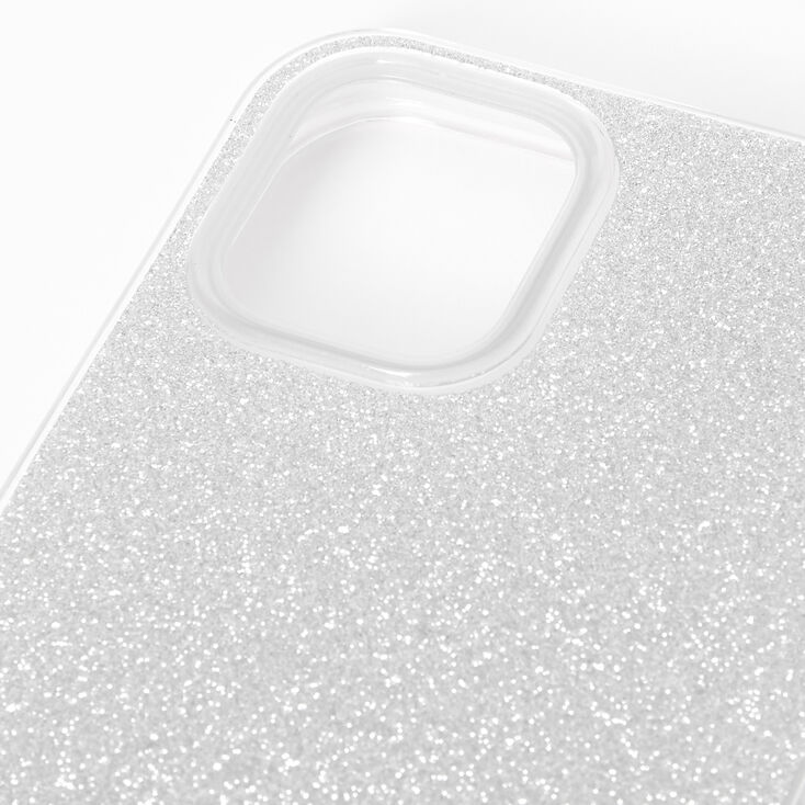 Silver Glitter Protective Phone Case - Fits iPhone 12 Mini,
