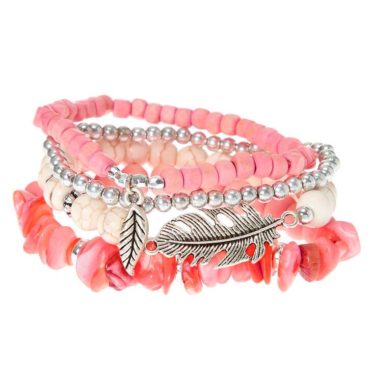 Wooden Bead Stretch Bracelets - Peach, 4 Pack,