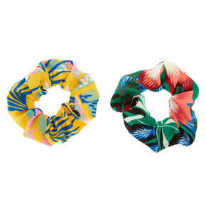 Floral Print Hair Scrunchie - Yellow, 2 Pack,