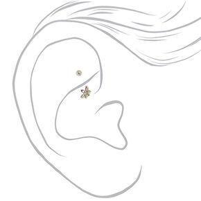 Silver 16G Flower Rook Earring,
