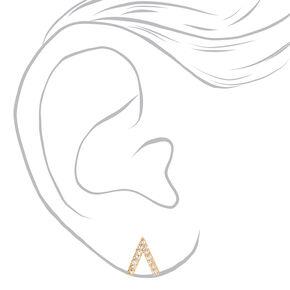 Gold Cubic Zirconia Tepee Stud Earrings,