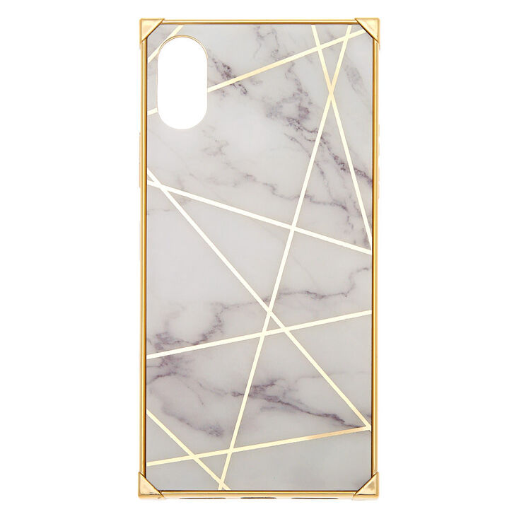White Marble Geometric Square Phone Case - Fits iPhone X/XS,
