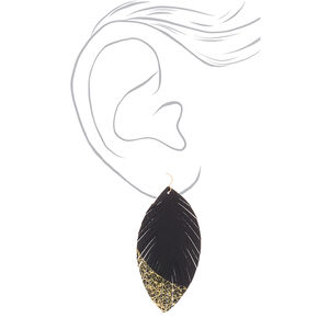 Gold Feather & Metallic Drop Earrings - Black,