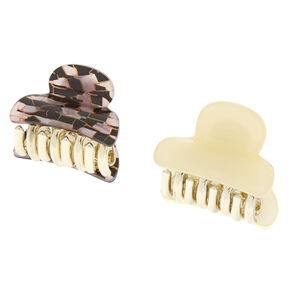 Pink & Black Tile Mini Hair Claws,