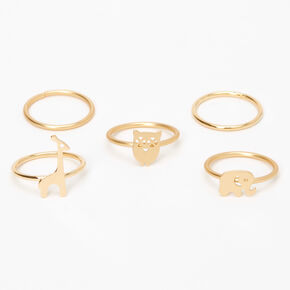Gold Animal Midi Rings - 5 Pack,