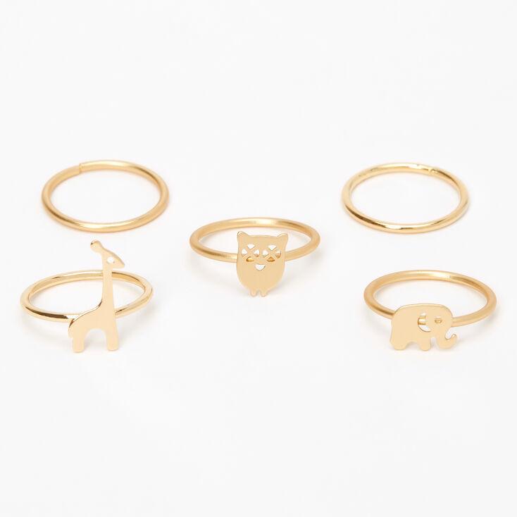 Gold Animal Midi Rings - 5 Pack,