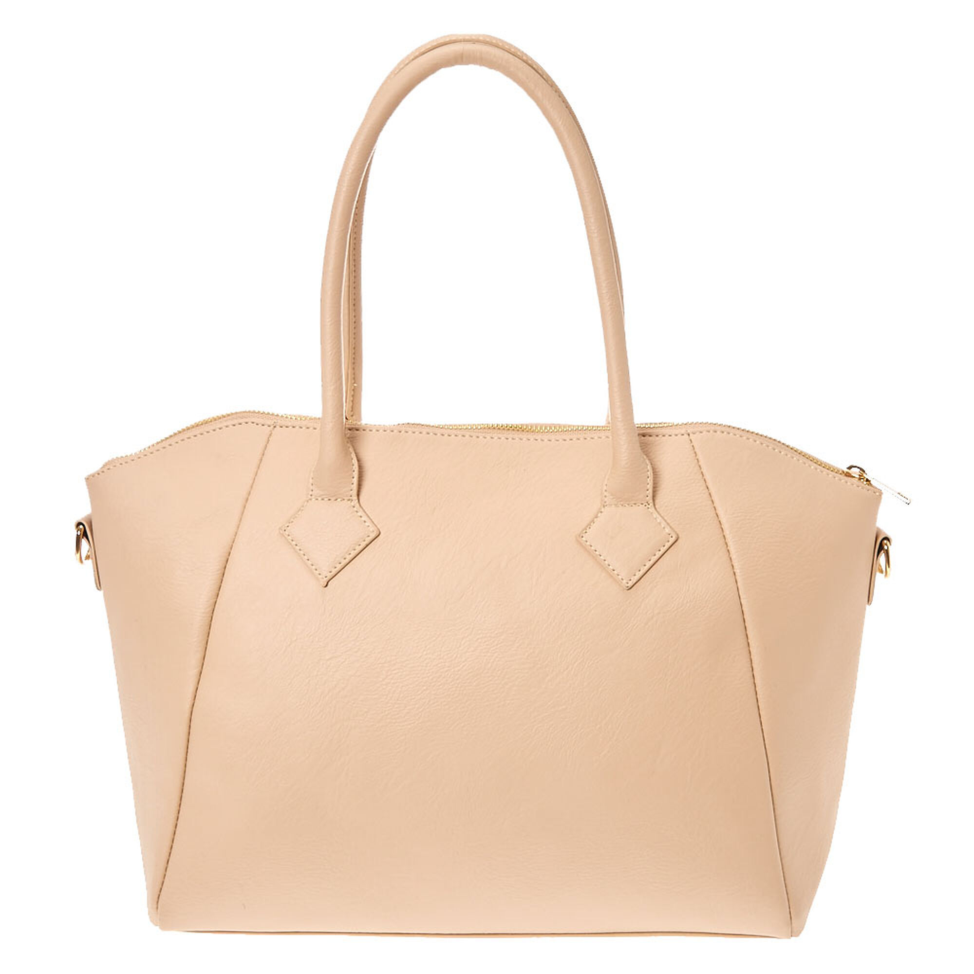 Tan Quilted Faux Leather Tote Bag