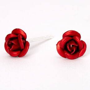 Sterling Silver Rose Stud Earrings - Red,
