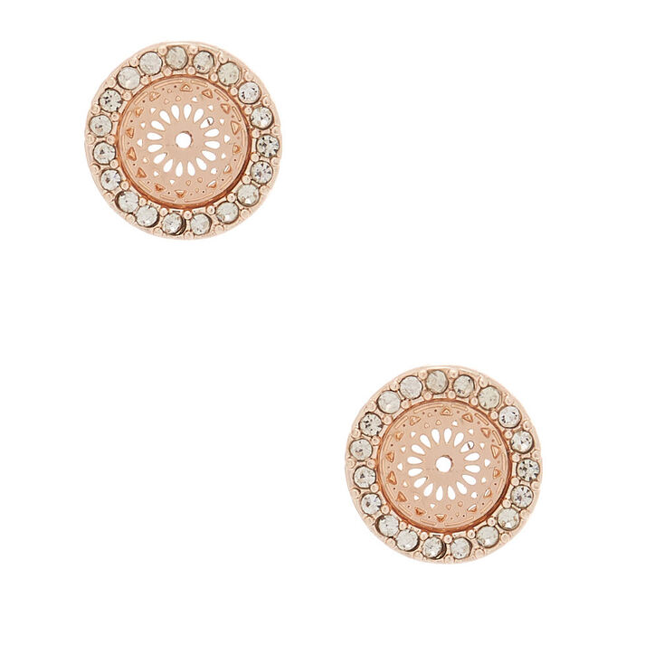 Rose Gold Round Stud Earrings,