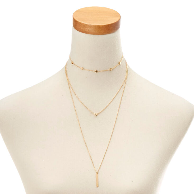 Gold-Tone Triple Layer Star Necklace,