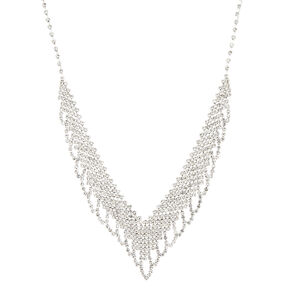 Silver Embellished Wing Statement Necklace,