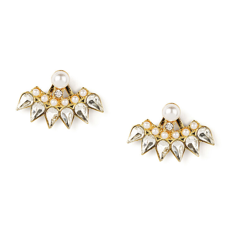Pearl & Crystal Teardrop Spike Front & Back Earrings,