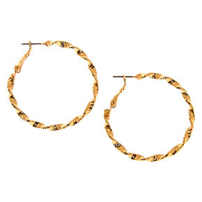 Gold 40MM Twisted Hoop Earrings,