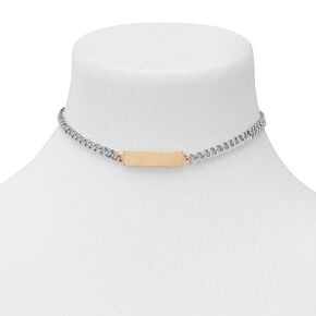 Mixed Metal ID Tag Chain Choker Necklace,