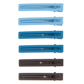 Rectangle Matte Hair Clips - Blue, 6 Pack,