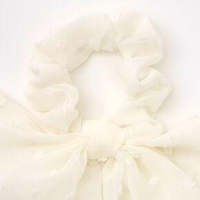 Small Organza Bow Hair Scrunchie Scarf - White,