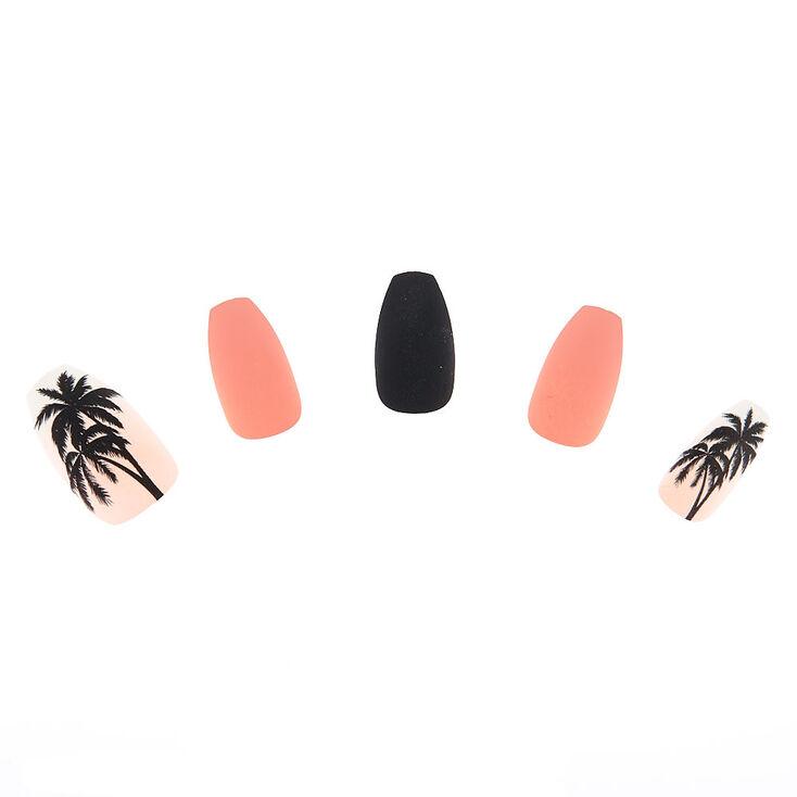Matte Palm Tree Faux Nail Set - Pink, 24 Pack,