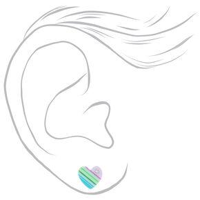 Sterling Silver Pastel Striped Heart Stud Earrings,
