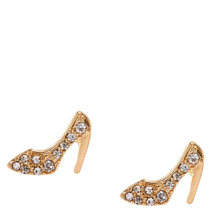 Gold Tone & Crystal Stiletto Heel Stud Earrings,