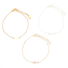 Mixed Metal Cross Chain Bracelets - 3 Pack,