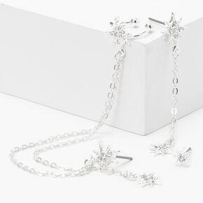 Silver Embellished Starburst Linear Ear Cuff Drop & Stud Earrings - 2 Pack,