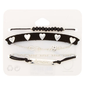Silver Dreamer Chain Bracelets - Black, 5 Pack,