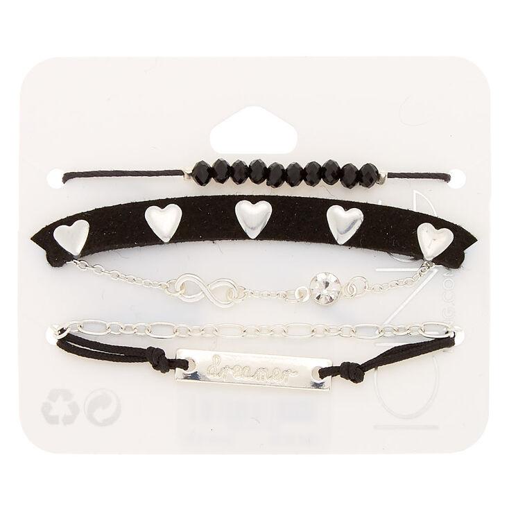 Silver Dreamer Chain Bracelets - Black, 5 Pack,