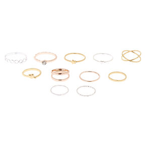 Mixed Metal Rings & Midi Rings - 10 Pack,