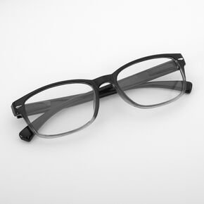 Black & Gray Two-Tone Rectangle Clear Lens Frames,