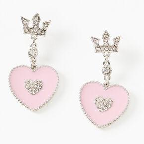 "1.5"" Rhinestone Crown Heart Drop Earrings - Pink,"