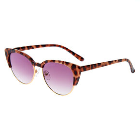 Leopard Browline Cat Eye Sunglasses - Brown,