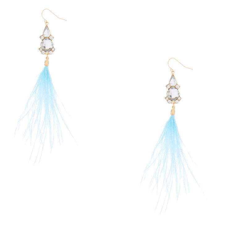 """Feather 5"""" Drop Earrings - Blue,"""