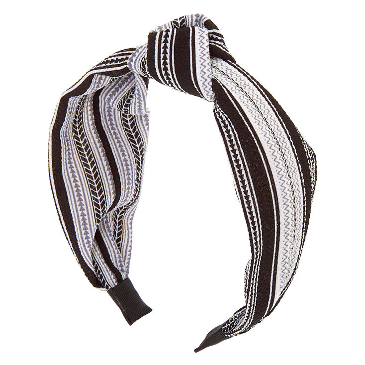 Aztec Knotted Headband - Black,