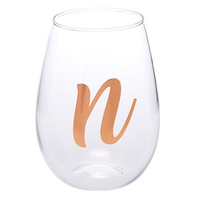 "Rose Gold-Tone ""N"" Initial Stemless Wine Glass,"