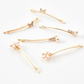 Flowers & Butterflies Hair Pins - Gold/6 Pack,