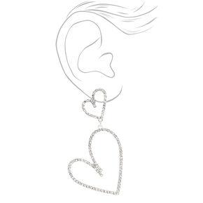 Silver Rhinestone Double Heart Drop Earrings,