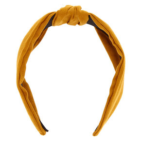 Knotted Suede Headband - Mustard,