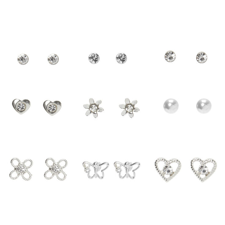 Silver Crystal Stud Earrings - 9 Pack,