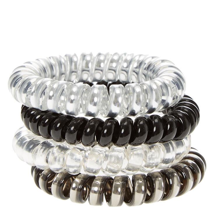 Metallic Black & Silver Spiral Hair Ties - 4 Pack,