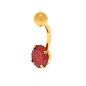 Gold Cubic Zirconia Ruby Belly Bar - Red,
