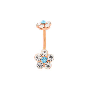 Rose Gold 14G Flower Belly Ring,