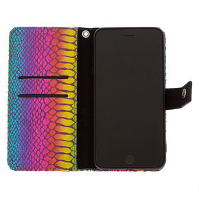 Metallic Rainbow Snake Skin Folio Phone Case - Fits iPhone 6/7/8 Plus,