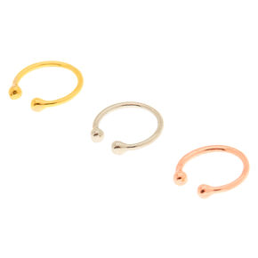 Mixed Metal Faux Nose Rings - 3 Pack,