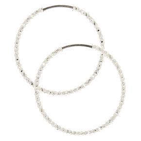 25MM Laser Cut Silver Hoop Earrings,