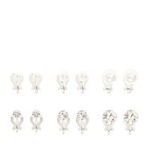 Silver Pearl & Crystal Graduated Clip On Stud Earrings - 6 Pack,