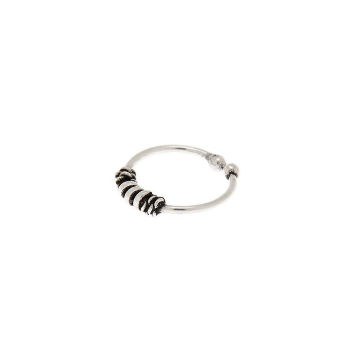 Sterling Silver 22G Boho Bead Cartilage Hoop Earring,